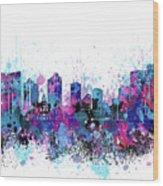 Fort Worth Skyline Color Splatter Wood Print