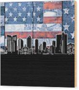 Fort Worth Skyline Flag 3 Wood Print