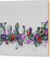 Fort Worth Skyline Floral 2 Wood Print