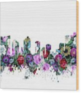 Fort Worth Skyline Floral Wood Print