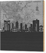 Fort Worth Skyline Map Grey Wood Print