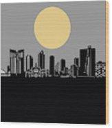 Fort Worth Skyline Minimalism Grey Wood Print