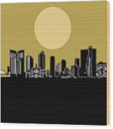 Fort Worth Skyline Minimalism Yellow Wood Print