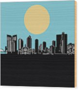 Fort Worth Skyline Minimalsim Blue Wood Print
