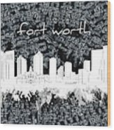 Fort Worth Skyline Music Sheet 2 Wood Print