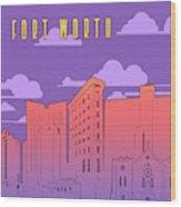 Fort Worth Skyline Panorama Purple Wood Print