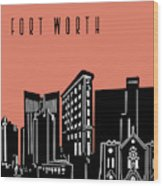 Fort Worth Skyline Panorama Red Wood Print