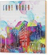 Fort Worth Skyline Panorama Watercolor 2 Wood Print