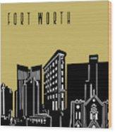 Fort Worth Skyline Panorama Yellow Wood Print
