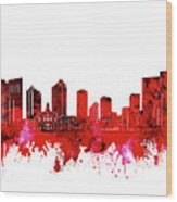Fort Worth Skyline Red Wood Print