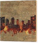 Fort Worth Skyline Vintage 2 Wood Print