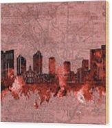 Fort Worth Skyline Vintage Red Wood Print