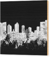 Fort Worth Skyline Watercolor Black And White 2 Wood Print