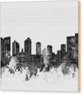 Fort Worth Skyline Watercolor Black And White Wood Print