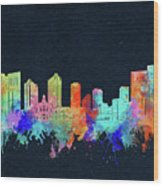 Fort Worth Skyline Watercolor Black Wood Print
