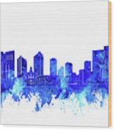 Fort Worth Skyline Watercolor Blue Wood Print