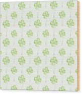 Four Leaf Clover Lucky Charm Pattern Wood Print