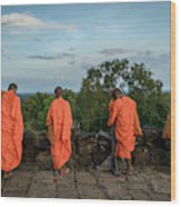 Four Monks And A Phone. Wood Print