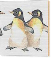 Four Penguins Wood Print