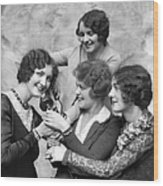 Four Smiling, Marcel-waved Women. One Wood Print