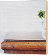 Fourleaf Cloverin Vase On Dresser Wood Print