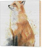 Fox Watercolor Wood Print