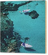 France, Corse Du Sud, Boats Anchored In Wood Print