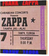 Frank Zappa 1980 Concert Ticket Wood Print