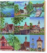 Frankenmuth Downtown Michigan Painting Collage II Wood Print
