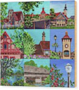 Frankenmuth Downtown Michigan Painting Collage V Wood Print