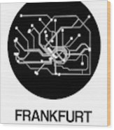 Frankfurt Black Subway Map Wood Print