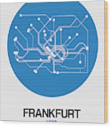 Frankfurt Blue Subway Map Wood Print