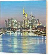 Frankfurt  Night Skyline Wood Print