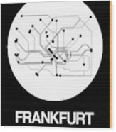 Frankfurt White Subway Map Wood Print