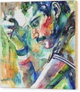 Freddie Mercury With Cigarette Wood Print