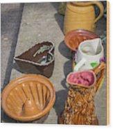 French Flea Market Pottery Wood Print
