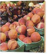 Fresh Peaches At Organic Market Wood Print