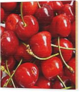 Fresh Red Cherries Wood Print