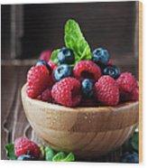 Fresh Sweet Raspberry And Bluberry Wood Print