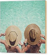 Friends By The Pool Wood Print