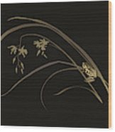 Frog And Orchid Wood Print