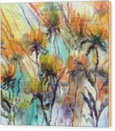 Frozen Chrysanthemums Wood Print