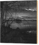 Full Moon Behind The Clouds Wood Print