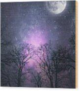 Full Moon Night Magic Wood Print