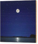 Full Moon Over New Hampshire Wood Print
