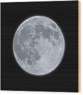 Full Moon With Glow Wood Print
