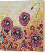 Funky Flowers Wood Print