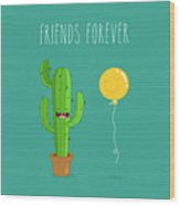 Funny Cactus With Air Balloon. Vector Wood Print