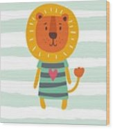 Funny Cartoon Lion Vector Print Wood Print