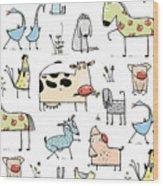 Funny Cartoon Village Domestic Animals Wood Print